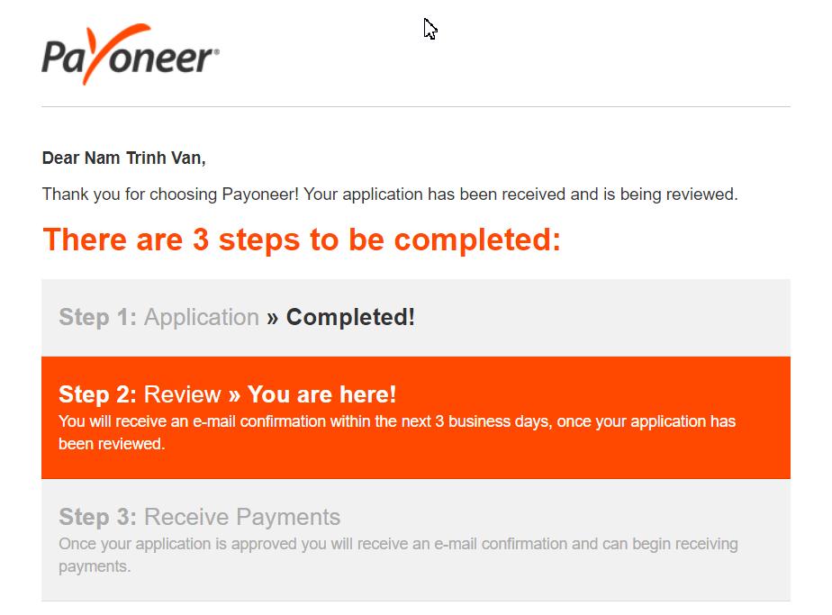 Email thông báo đăng ký thành công