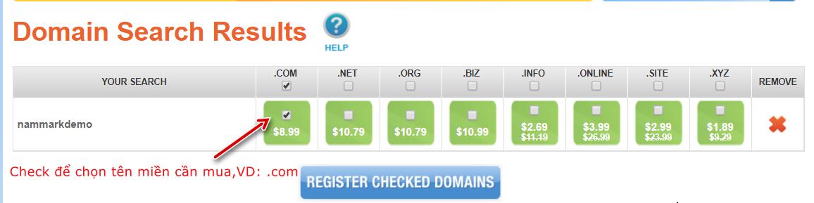 Chọn tên miền cần mua tại NameSilo
