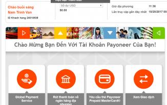 Giao diện quản lý tài khoản Payoneer
