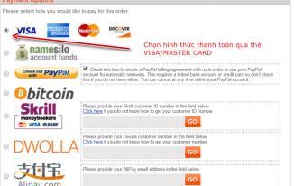 Chọn hình thức thanh toán trên NameSilo