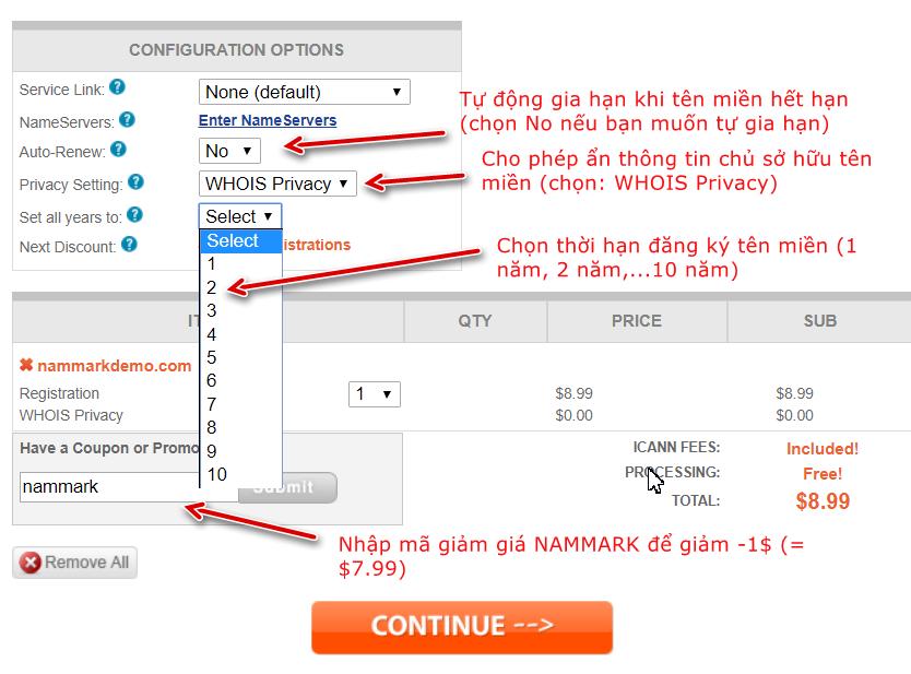 Thông tin chọn mua tên miền tại NameSilo