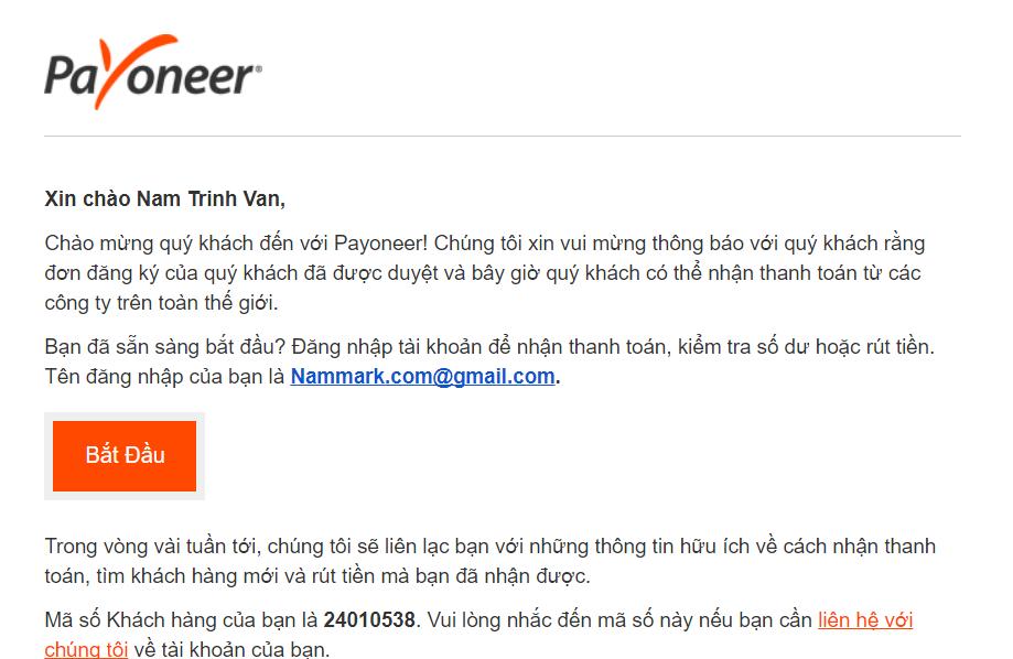 Email xét duyệt đăng ký Payoneer thành công